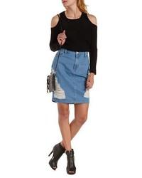 Charlotte Russe Destroyed Denim Pencil Skirt