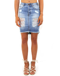 Destroyed denim mini skirt with fringe in blue jack medium 572954