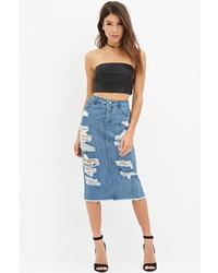 Forever 21 Distressed Denim Pencil Skirt
