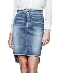 GUESS High Low Denim Longette Skirt