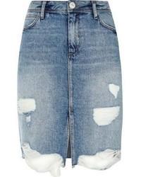 River Island Light Blue Wash Ripped Denim Midi Skirt