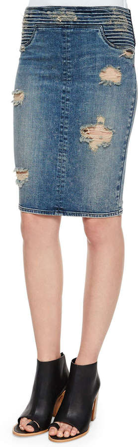 Rta Denim River Tiered Denim Skirt Destroyed Soil | Where to buy ...