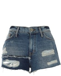 River Island Blue Authentic Ripped Patchwork Denim Shorts