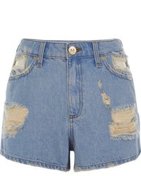 River Island Blue Ripped Denim Shorts