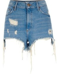 River Island Blue Ripped High Waisted Denim Shorts
