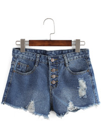 Frayed Ripped Denim Single Breasted Shorts