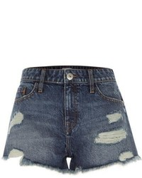 River Island Mid Blue Ripped Denim Shorts