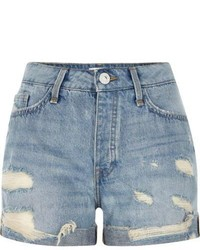 River Island Mid Blue Wash Ripped Boyfriend Denim Shorts
