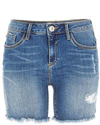 River Island Mid Wash Distressed Amelie Denim Shorts