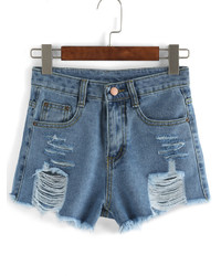 Ripped Frayed Denim Blue Shorts