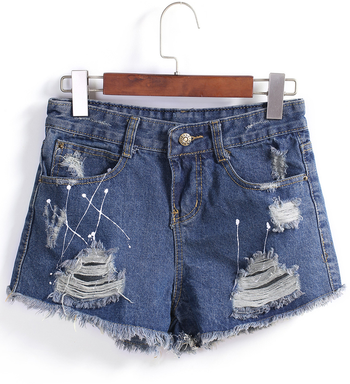 f653db3d22 Women's Fashion › Shorts › Romwe › Blue Ripped Denim Shorts With Button  Ripped Fringe Denim Shorts ...