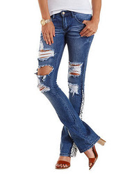 Charlotte Russe Crochet Trim Destroyed Flare Jeans