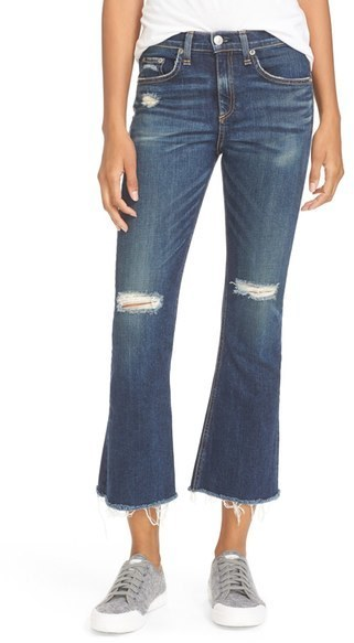 Rag & Bone Jean Ripped High Rise Crop Flare Jeans | Where to buy ...