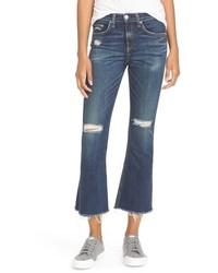 Rag & Bone Jean Ripped High Rise Crop Flare Jeans