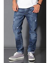 21men 21 Distressed Medium Wash Straight Leg Jeans