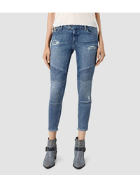 AllSaints Biker Destroyed Cropped Jeans