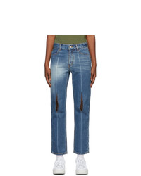 Ader Error Blue Collage Pollshing Jeans