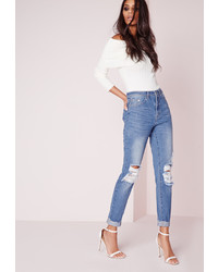 Missguided Blue High Rise Ripped Knee Slim Leg Jeans