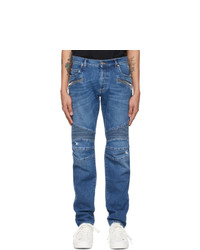 Balmain Blue Ribbed Tapered Jeans