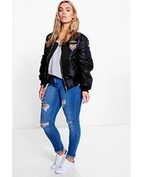 Boohoo Plus Robyn Rip Detail Skinny Jean
