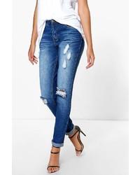 Boohoo Tall Claudia Distressed Ripped Knee Skinny Jean