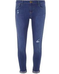 Dorothy Perkins Bright Blue Rip Harper Skinny Jeans