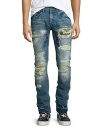 PRPS Demon Distressed Slim Denim Jeans Blue