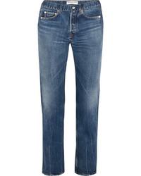 Balenciaga Distressed High Rise Straight Leg Jeans Mid Denim