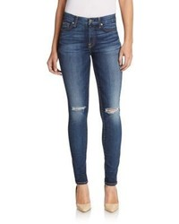 7 For All Mankind Distressed Mid Rise Skinny Jeans