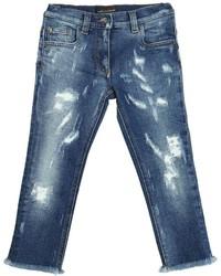 Dolce & Gabbana Destroyed Stretch Cotton Denim Jeans