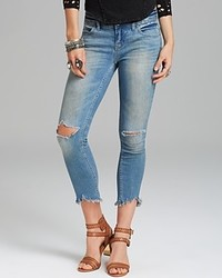 Free People Jeans Mid Rise Skinny Destroyed Ankle In Sitka