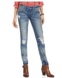 Free People Jeans Skinny Medium Wash Destroyed