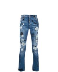 Philipp Plein Graffiti Distressed Jeans