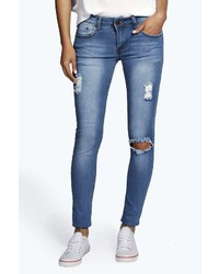 Boohoo Hannah Low Rise Distressed Knee Rip Skinny Jeans
