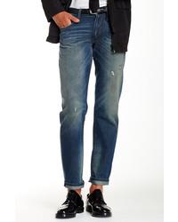 DKNY Jeans Tinted Rip And Repair Wash Bleecker Straight Leg Jean
