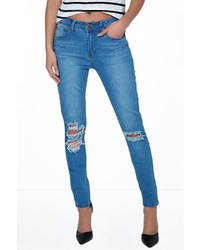Boohoo Layla Ripped Knee Skinny Jeans