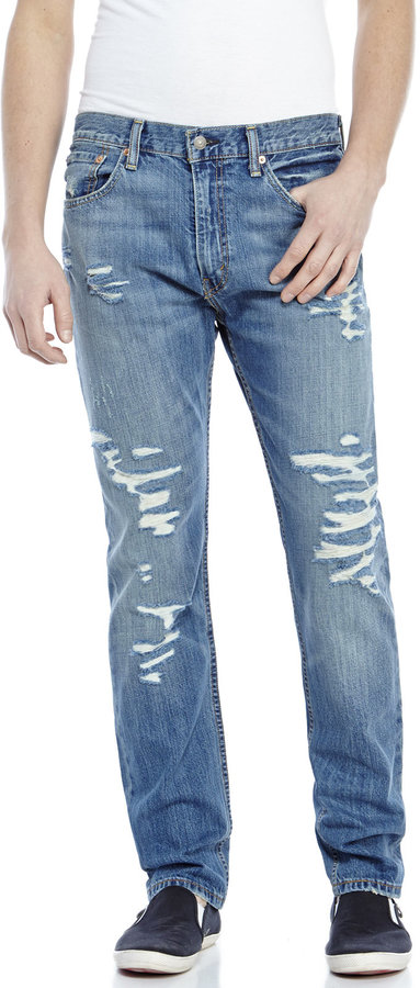 Levi's Medium Wash 508 Regular Taper Fit Destroyed Jeans | Where ...