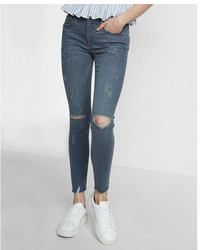 Express Mid Rise Distressed Stretch Ankle Jean Leggings