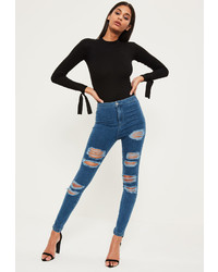 Missguided Blue High Waisted Ripped Jeans