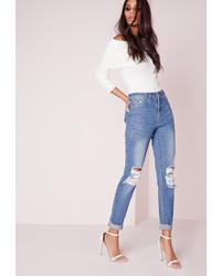 Missguided High Rise Ripped Knee Slim Leg Jeans Stonewash Blue