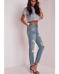 Missguided Retro High Rise Ripped Mom Jeans Vintage Blue