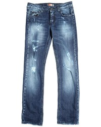 MSGM Destroyed Stretch Cotton Denim Jeans