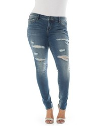Plus size slink jeans ripped stretch skinny jeans medium 3639894