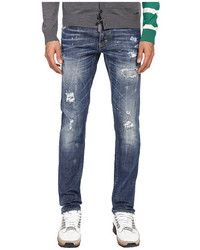 Dsquared2 Ripped Black Stitch Wash Five Pocket Slim Jeans
