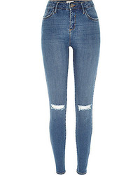 River Island Mid Wash Ripped Amelie Superskinny Jeans