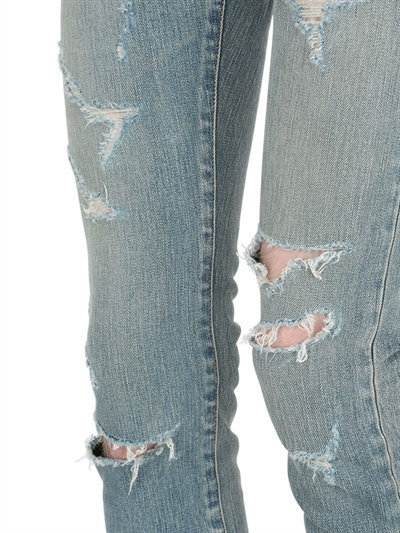 550257ad215 Saint Laurent 15cm Super Destroyed Stretch Denim Jeans, $850 | LUISAVIAROMA  | Lookastic.com