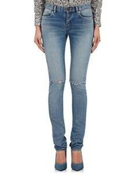 Saint Laurent Distressed Skinny Jeans Blue