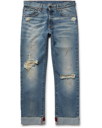 Gucci Slim Fit Embroidered And Distressed Denim Jeans