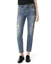 Joe's Smith Embellished High Waist Raw Hem Ankle Boyfriend Jeans