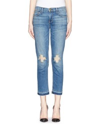 Current/Elliott The Cropped Straight Ripped Jeans